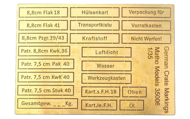Matho 1/35 German Crate Markings (airbrush templates)