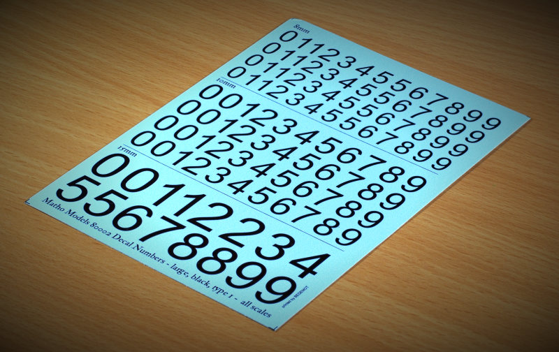 Matho Decal Numbers - large, black, type 1