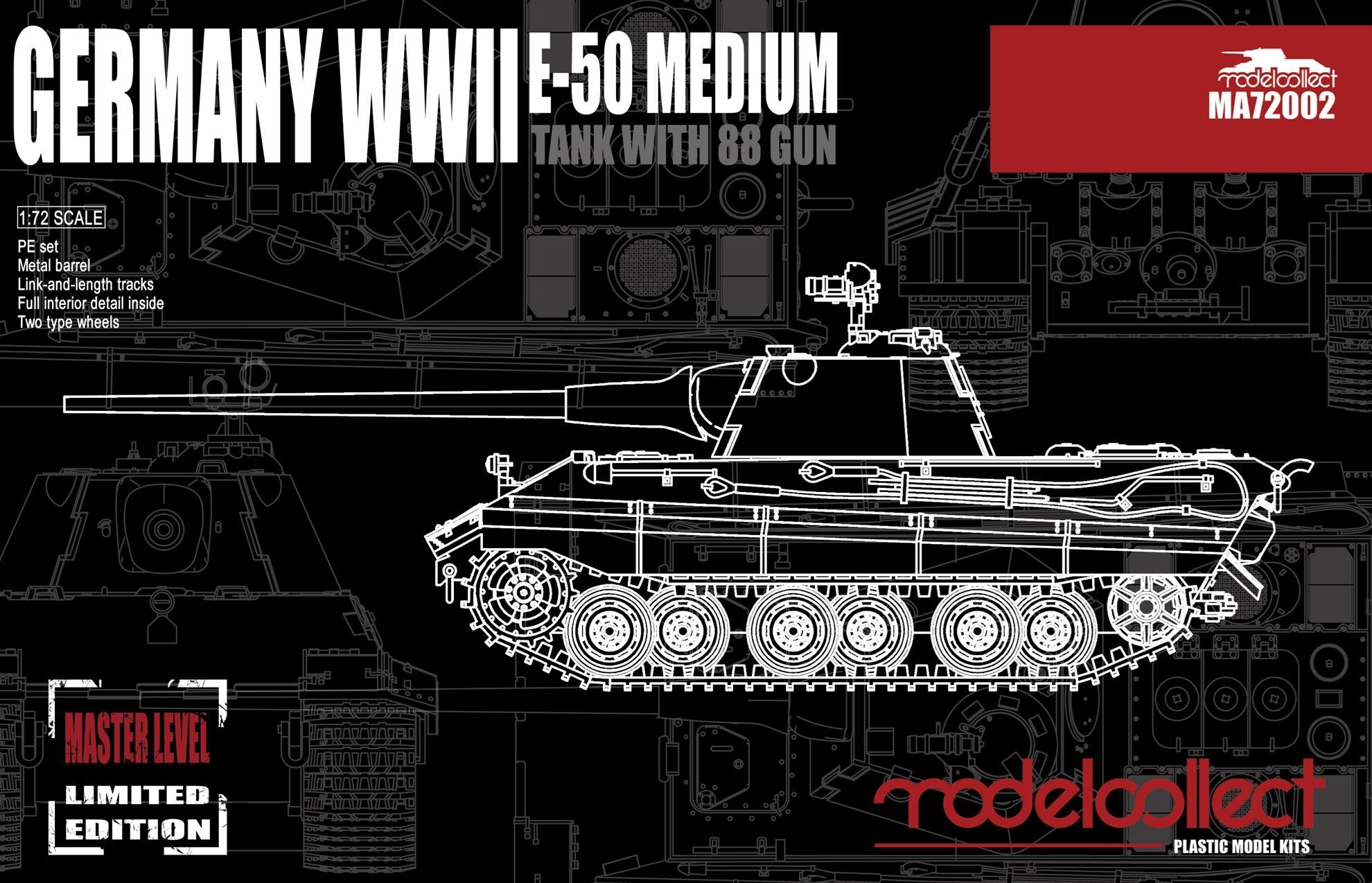 ModelCollect Germany WWII E-50 Medium Tank with 88 Gun