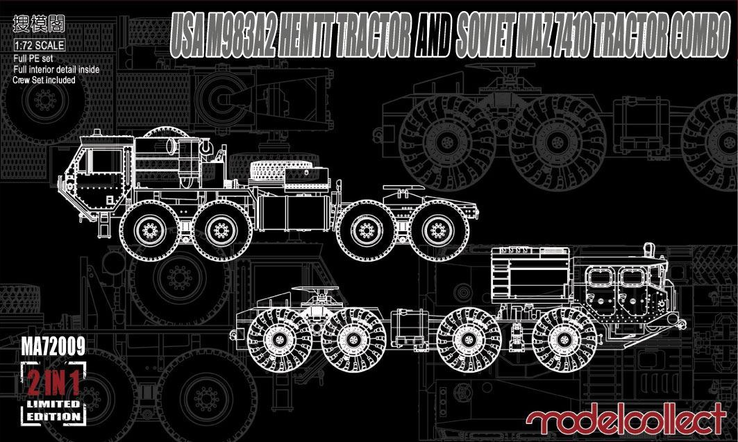 ModelCollect USA M983A2 HEMTT Tractor and Soviet MAZ 7410 tractor COMBO