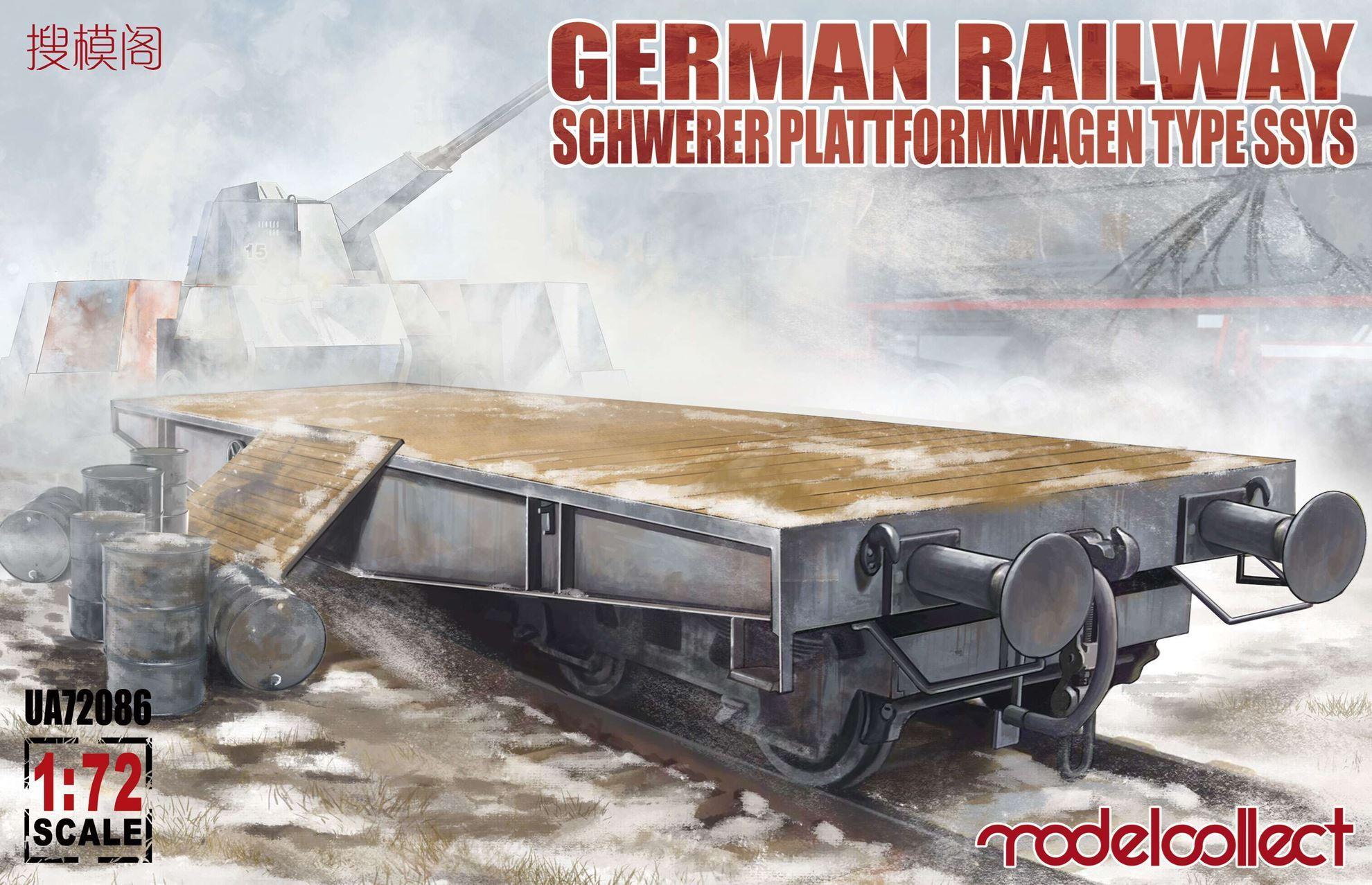 ModelCollect German Railway Schwerer Plattformwagen Type ssys 1+1 pack