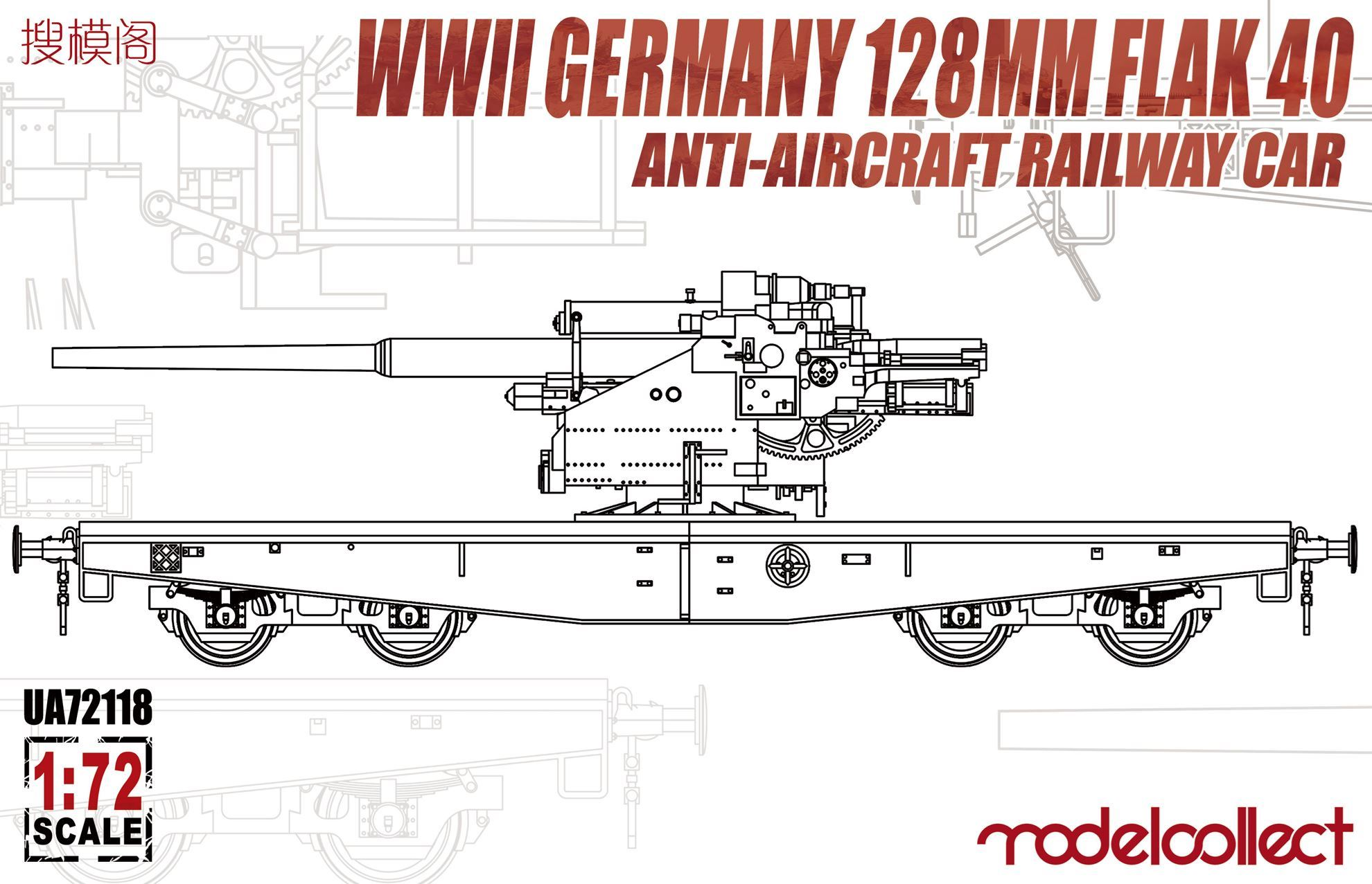 ModelCollect WWII Germany 128mm Flak 40 Anti-Aircraft Railway Car