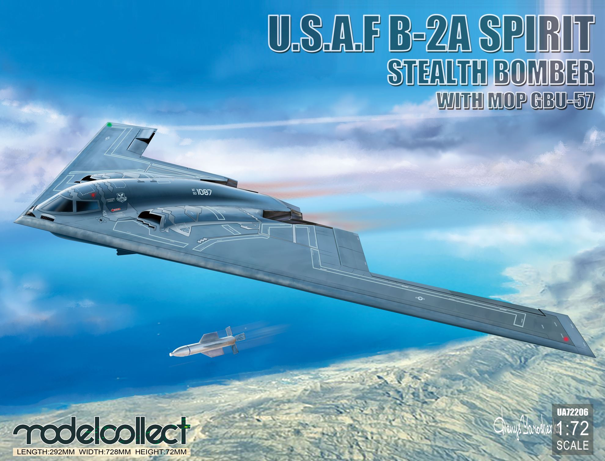 ModelCollect USAF B-2A Spirit Stealth Bomber with Mop GBU-57