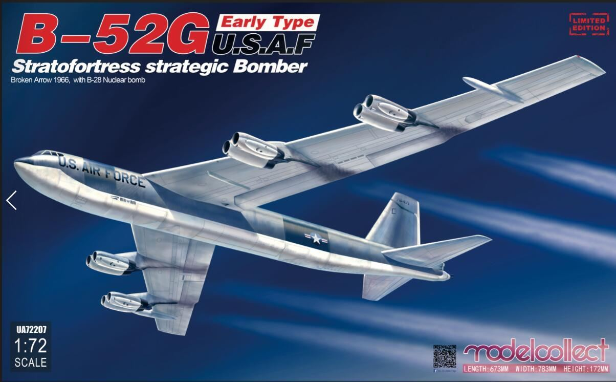 ModelCollect B-52G early type U.S.A.F stratofortress strategic bomber Broken Arrow 1966, with B-28 Nuclear bomb
