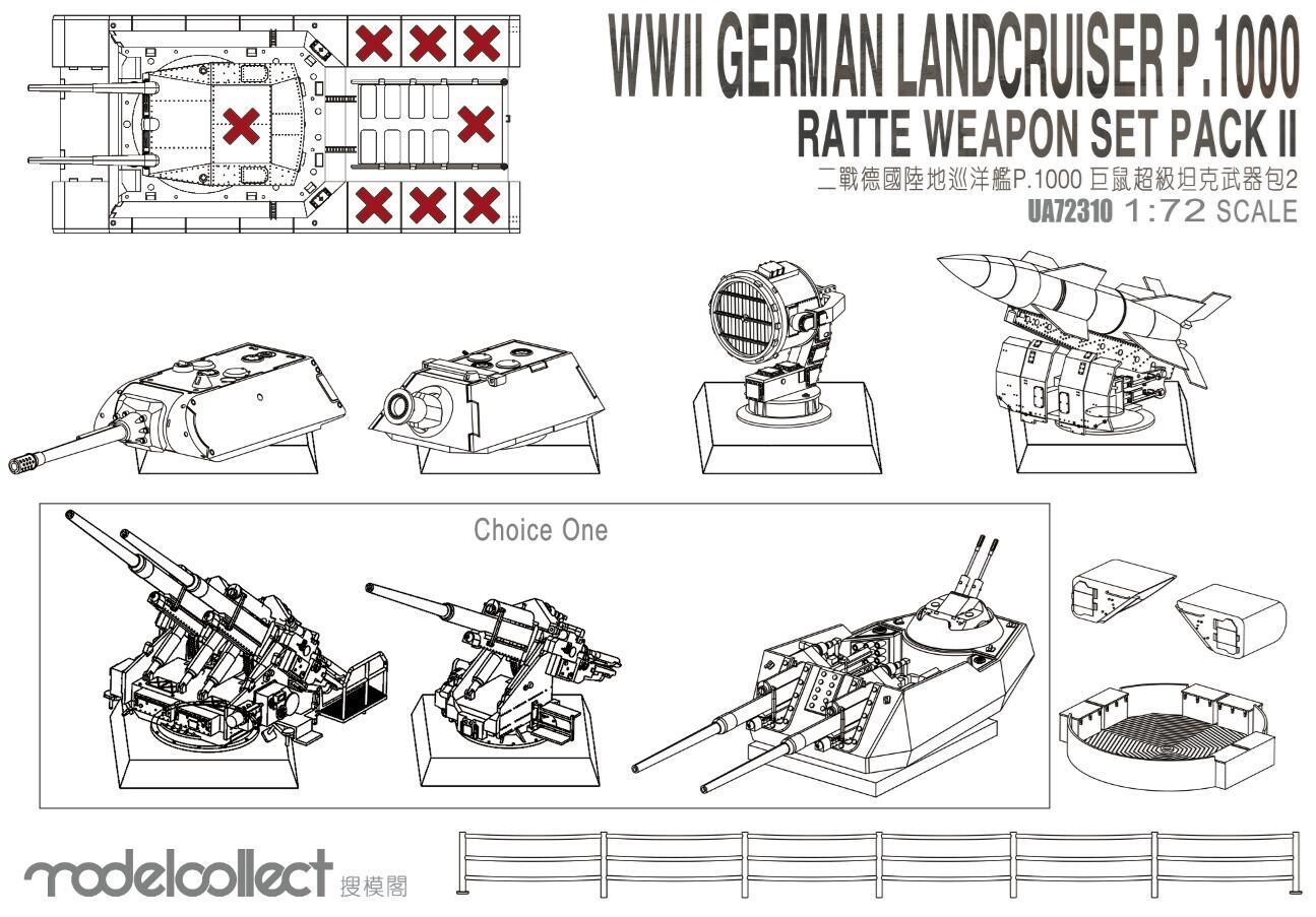ModelCollect WWII Germany landcruiser p.1000 ratte weapon set pack II