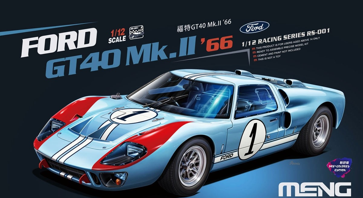 Meng 1/12 Ford GT40 Mk II Shelby American Team 24 Hours Le Mans 1966