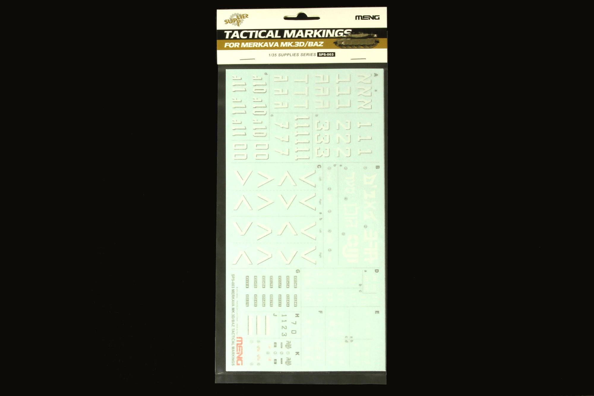 Meng 1/35 Merkava Mk.3D/BAZ Tactical Markings Decal Set