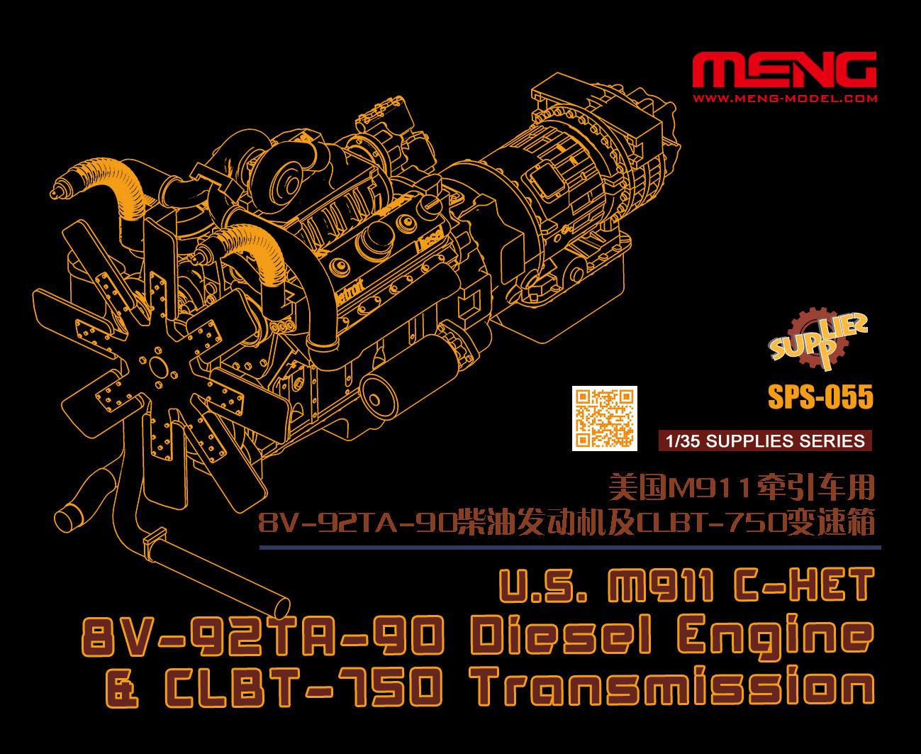 Meng 1/35 U.S. M911 C-HET 8V-92TA-90 Diesel Engine & CLBT-750 Transmission (Resin)
