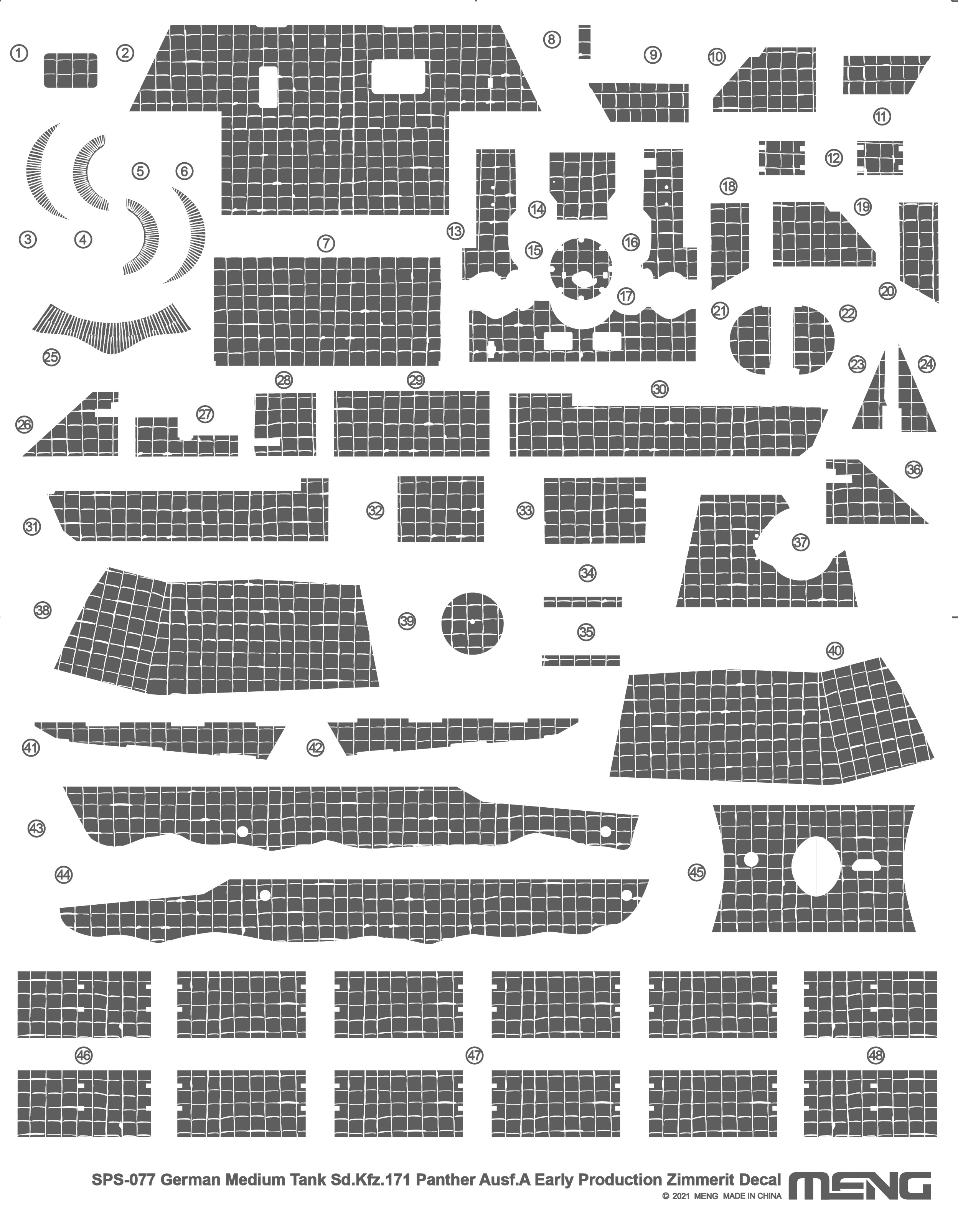 Meng German Medium Tank Sd.Kfz.171 Panther Ausf.A Early Production Zimmerit Decal