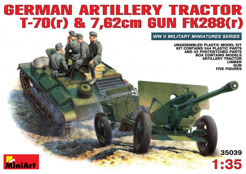 MiniArt 1/35 German Artillery Tractor T-70 (r) & Gun w/Crew
