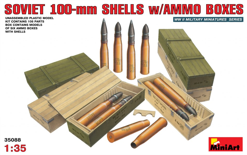 MiniArt Soviet 100-mm Shells w/ Ammo Boxes (1/35)