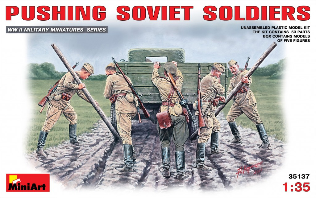 MiniArt Pushing Soviet Soldiers (1/35)