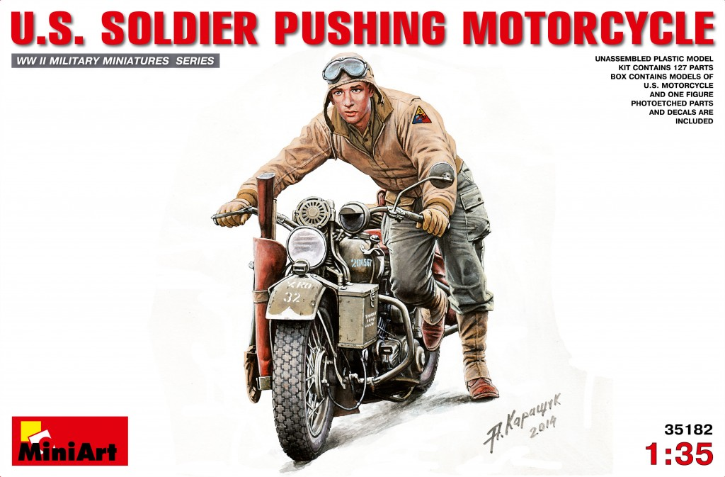 MiniArt U.S.Soldier Pushing Motorcycle (1/35)