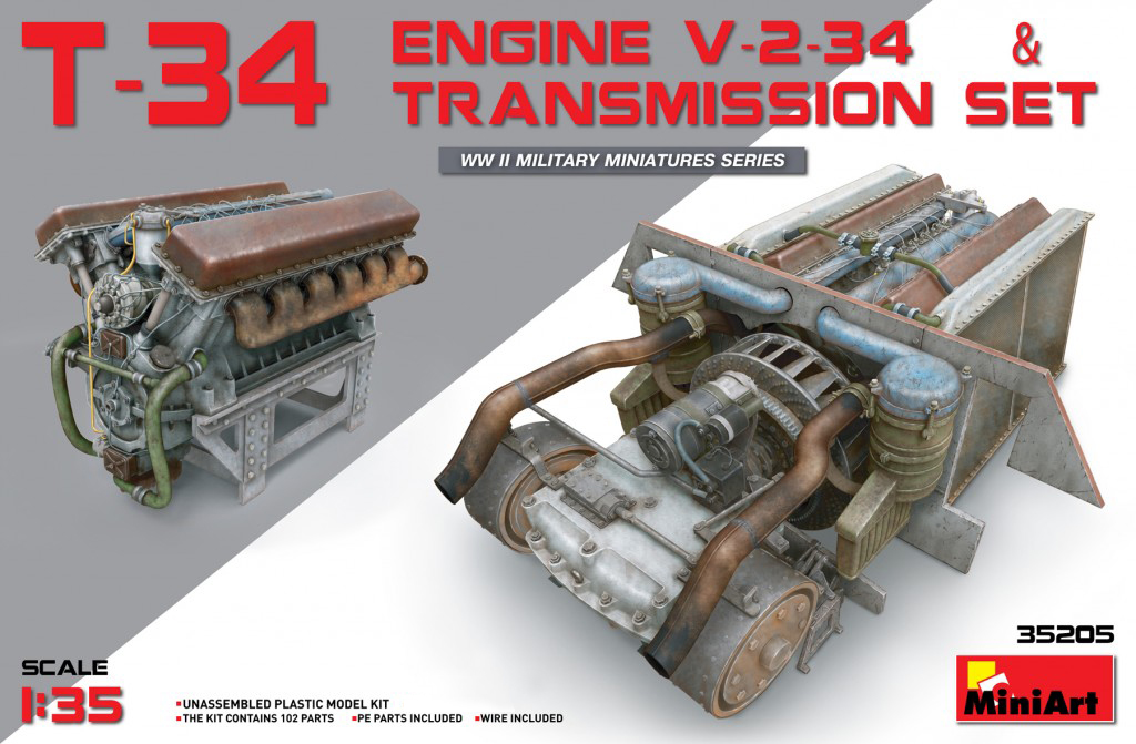 MiniArt T-34 Engine(V-2-34) & Transmission Set