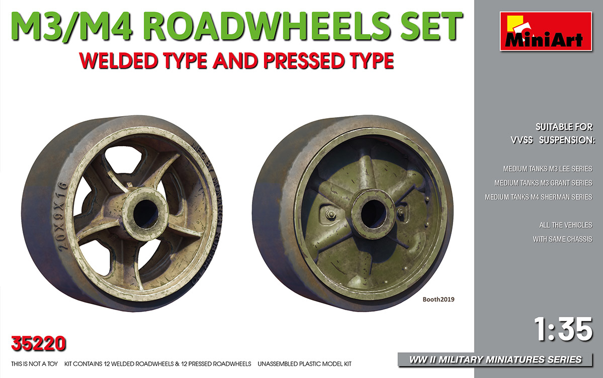 MiniArt M3/M4 Road Wheels Set Welded Type and Pressed Type
