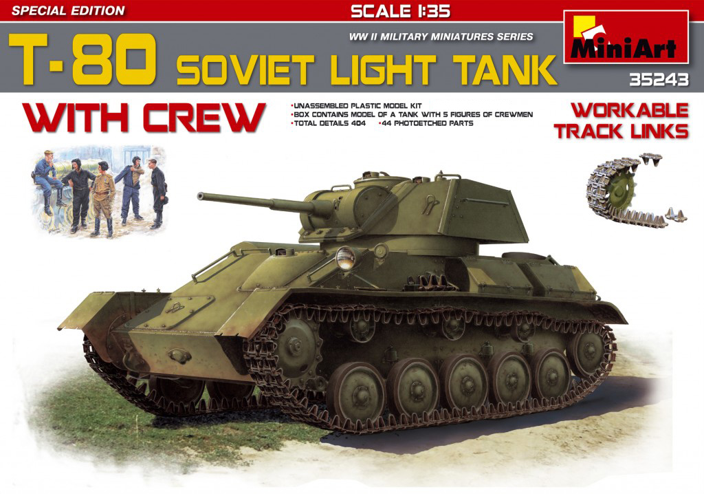 MiniArt T-80 Soviet Light Tank w/Crew.Special Edition (1/35)