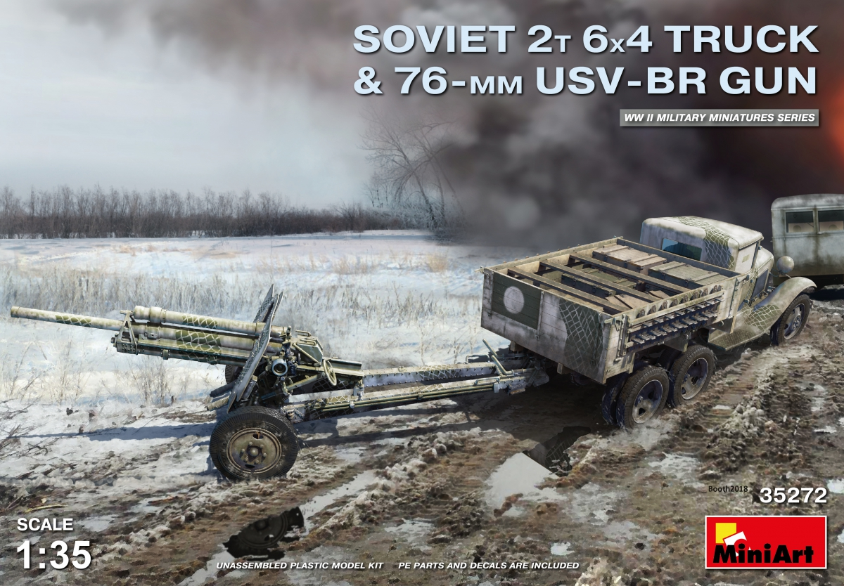 MiniArt Soviet 2 t 6x4 Truck with 76 mm USV-BR Gun (1/35)