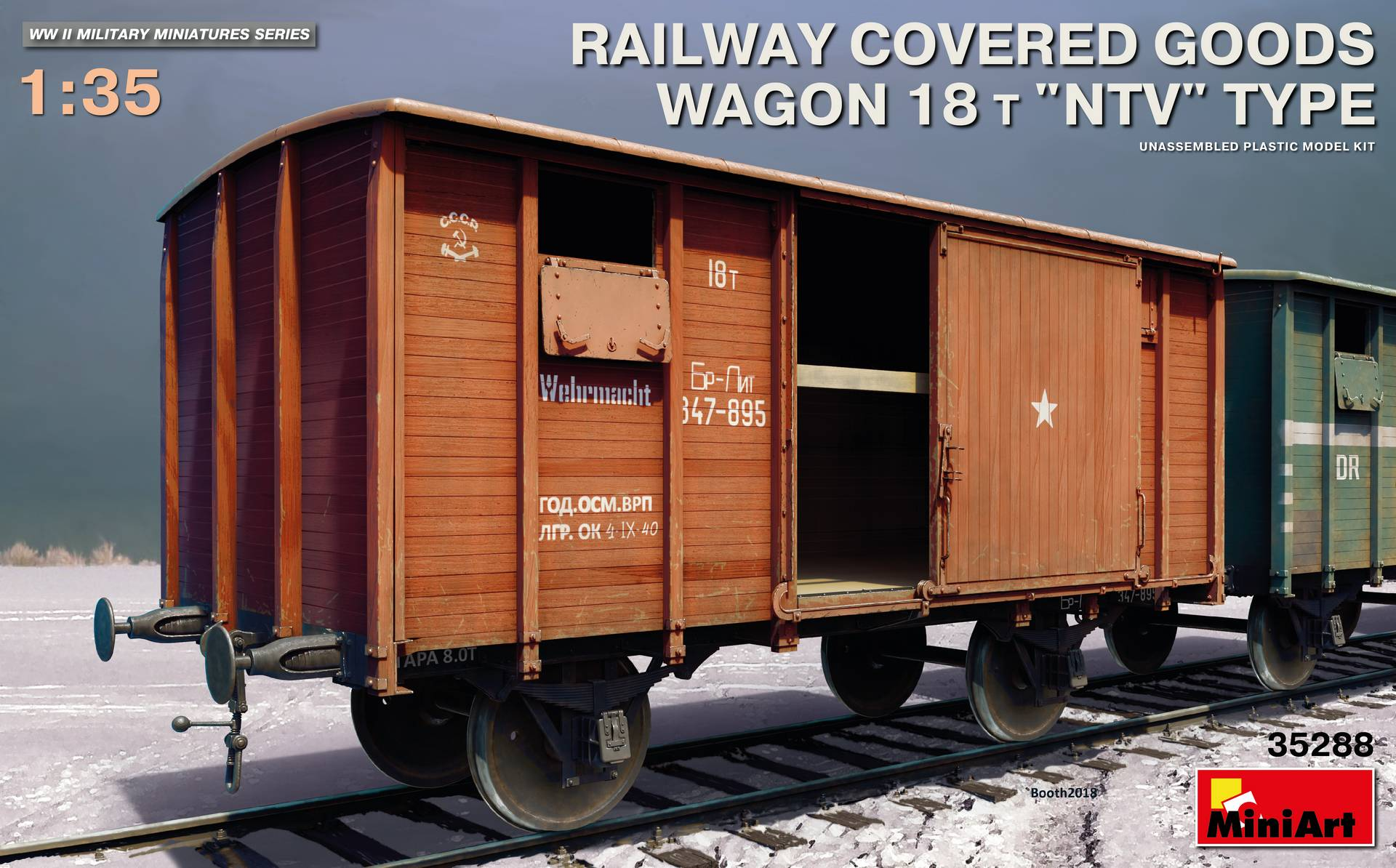 "MiniArt Railway Covered Goods Wagon 18 t ""NTV""-Type (1/35)"