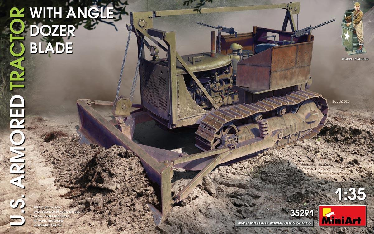 MiniArt U.S. Armored Tractor w/ Angle Dozer Blade