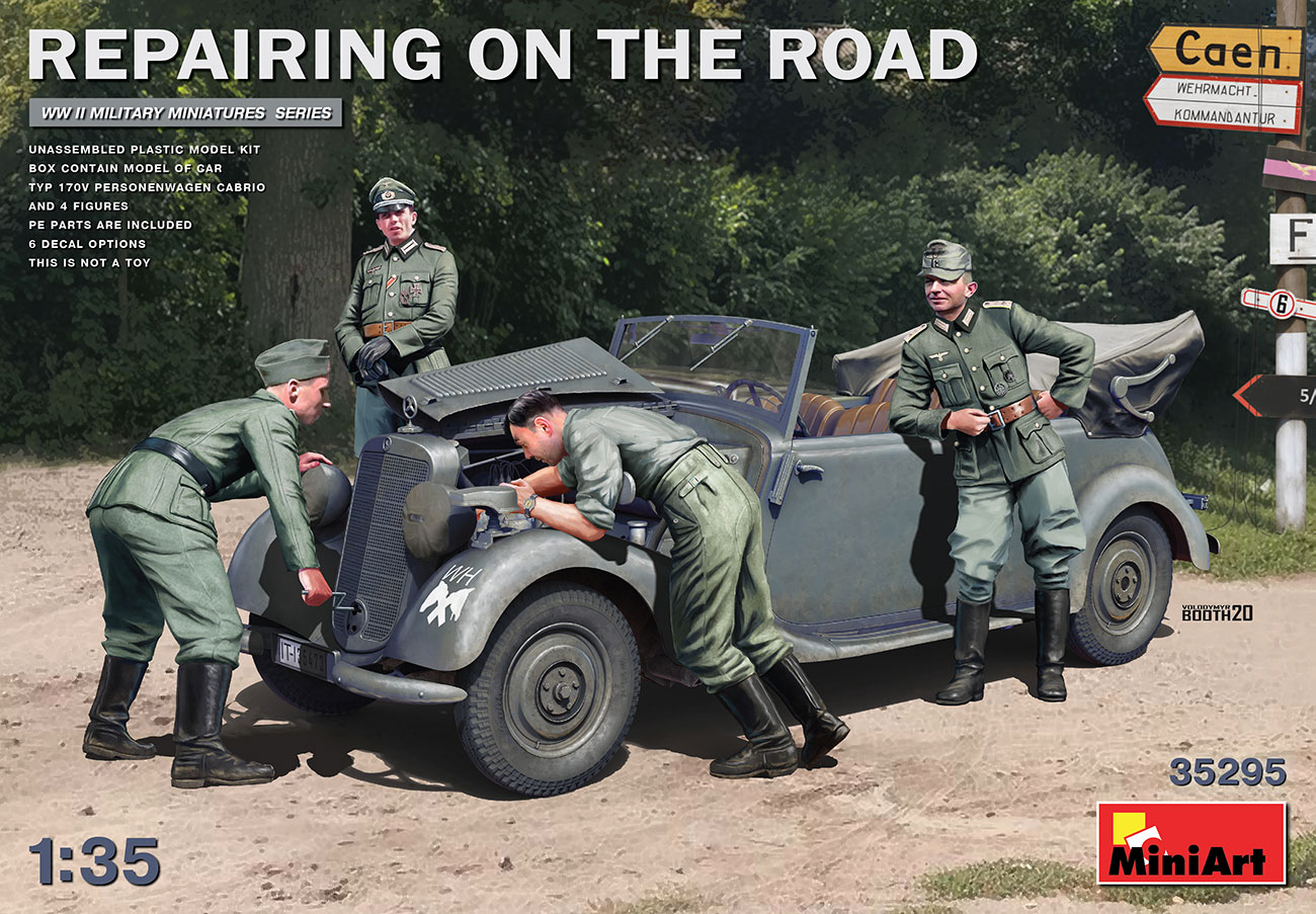 MiniArt 1/35 Repairing on the Road (Typ 170V Personenwagen Cabrio & 4 Figures)
