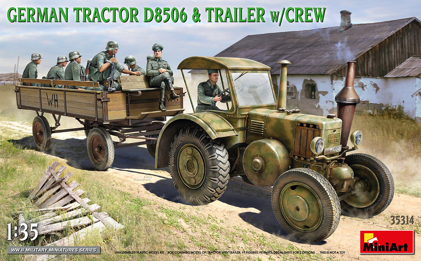 MiniArt 1/35 German Tractor D8506 with Trailer & Crew