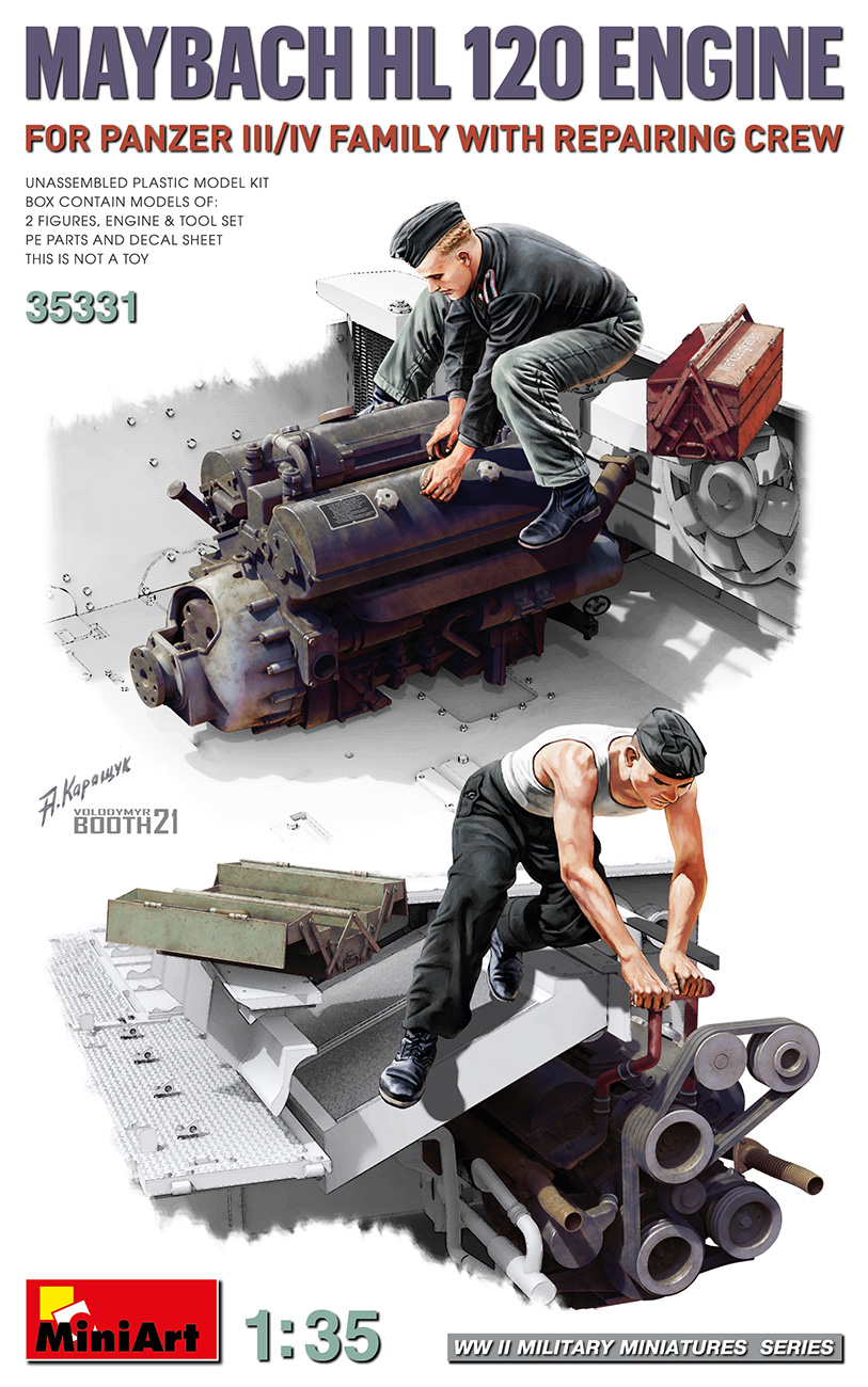 MiniArt 1/35 Maybach HL 120 Engine for Panzer III/IV Family w/Repair Crew