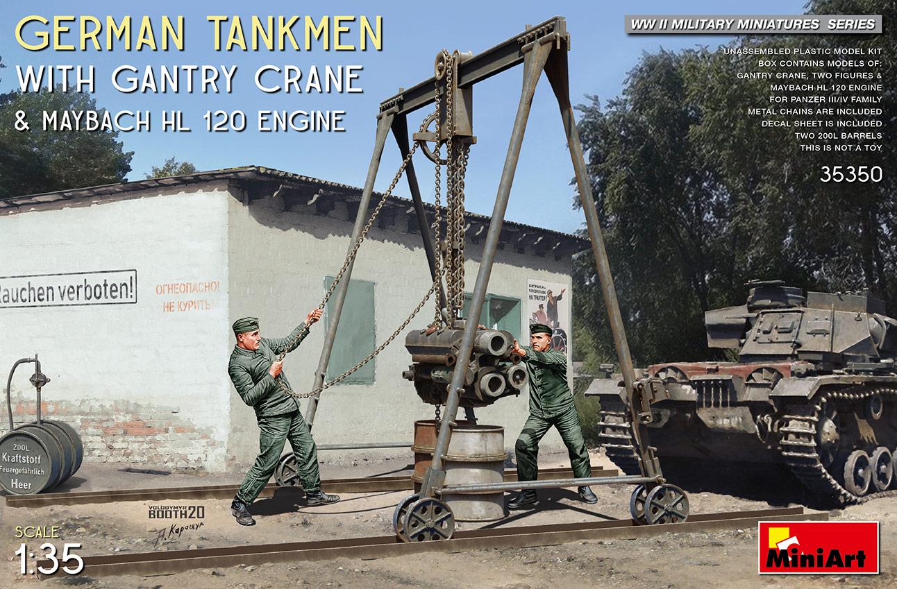 MiniArt 1/35 German Tankmen with Gantry Crane & Maybach HL 120 Engine