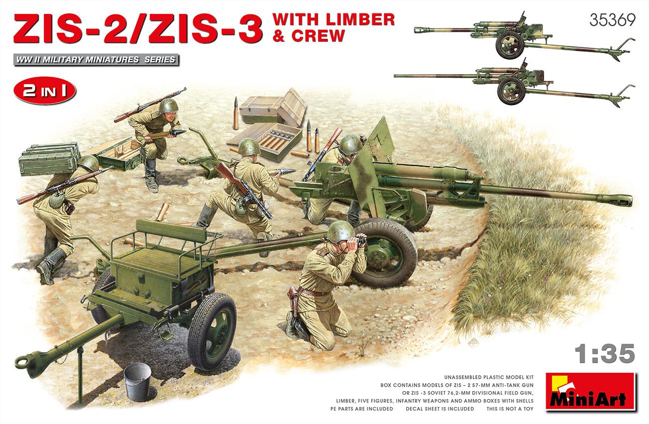 MiniArt 1/35 ZIS-2/ZIS-3 With Limber & Crew 2 in 1 Set