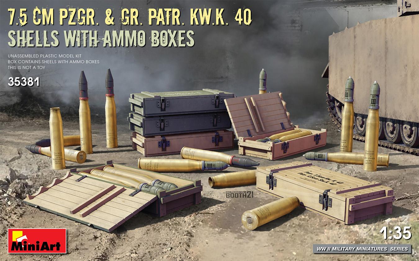MiniArt 1/35 7.5 cm Pzgr. & Gr. Patr. Kw.K. 40 Shells with Ammo Boxes