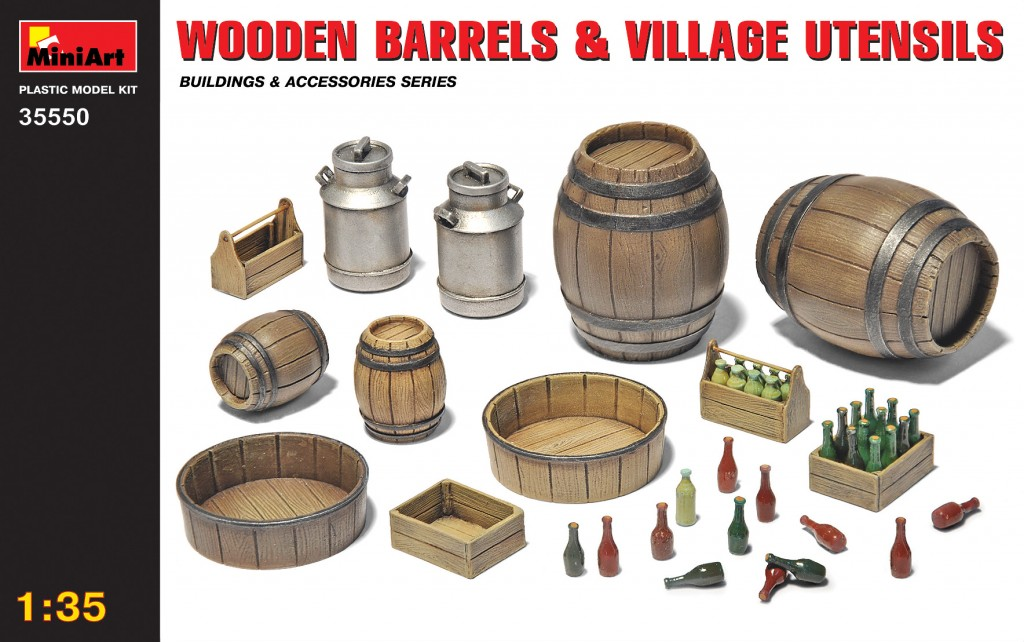 MiniArt Wooden Barrels & Village Utensils (1/35)