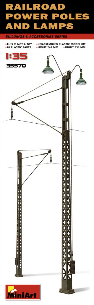 MiniArt Railroad Power Poles & Lamps (1/35)