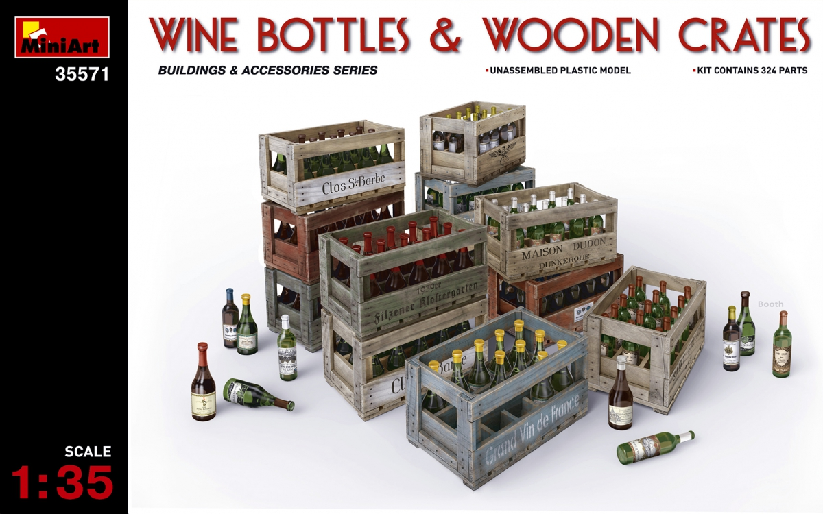MiniArt Wine Bottles & Wooden Crates (1/35)