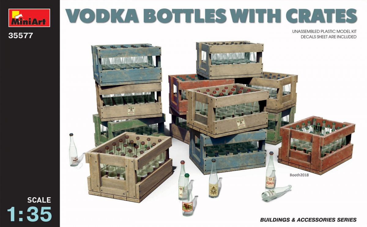 MiniArt Vodka Bottles with Crates (1/35)