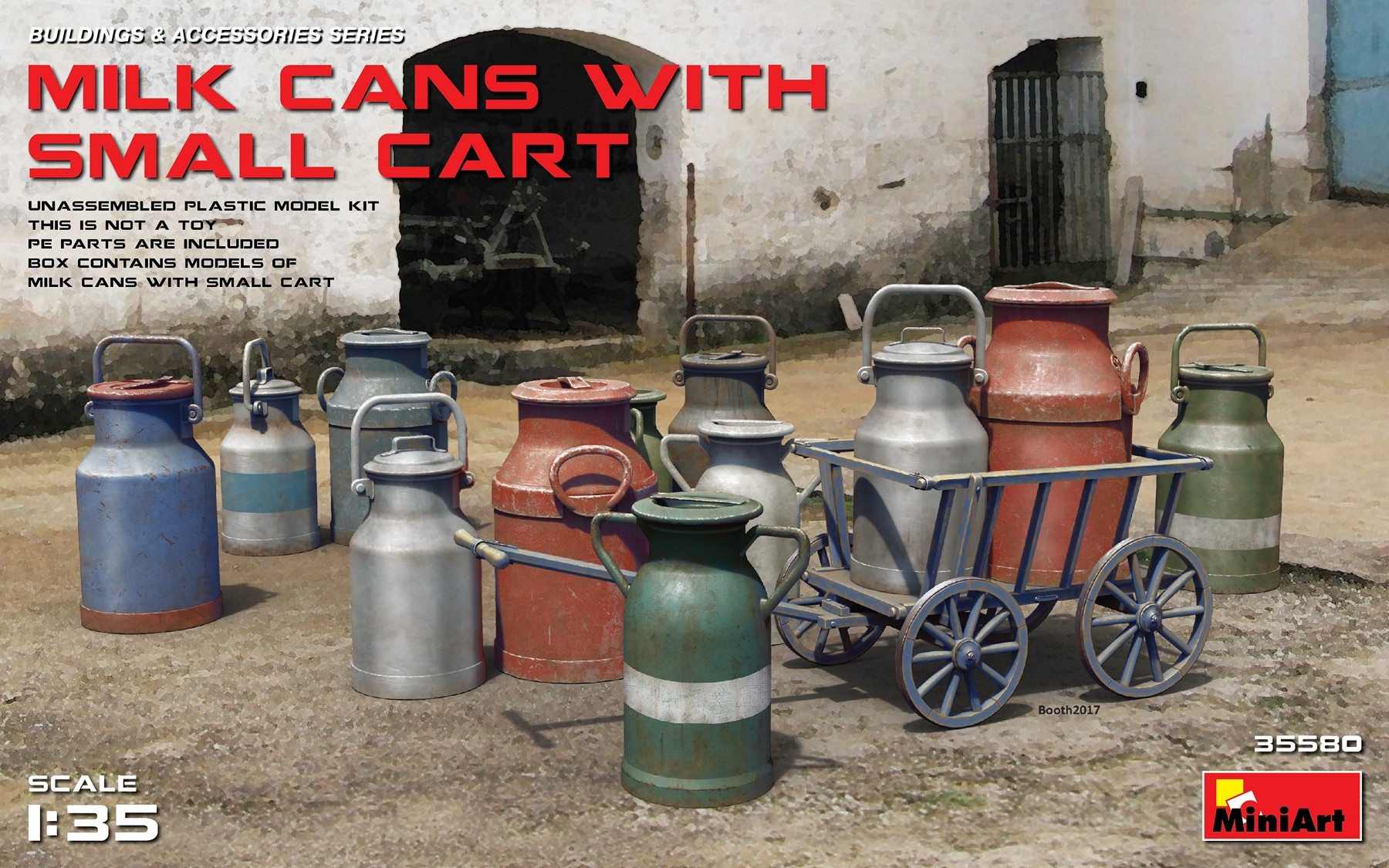 MiniArt Milk Cans with Small Cart (1/35)