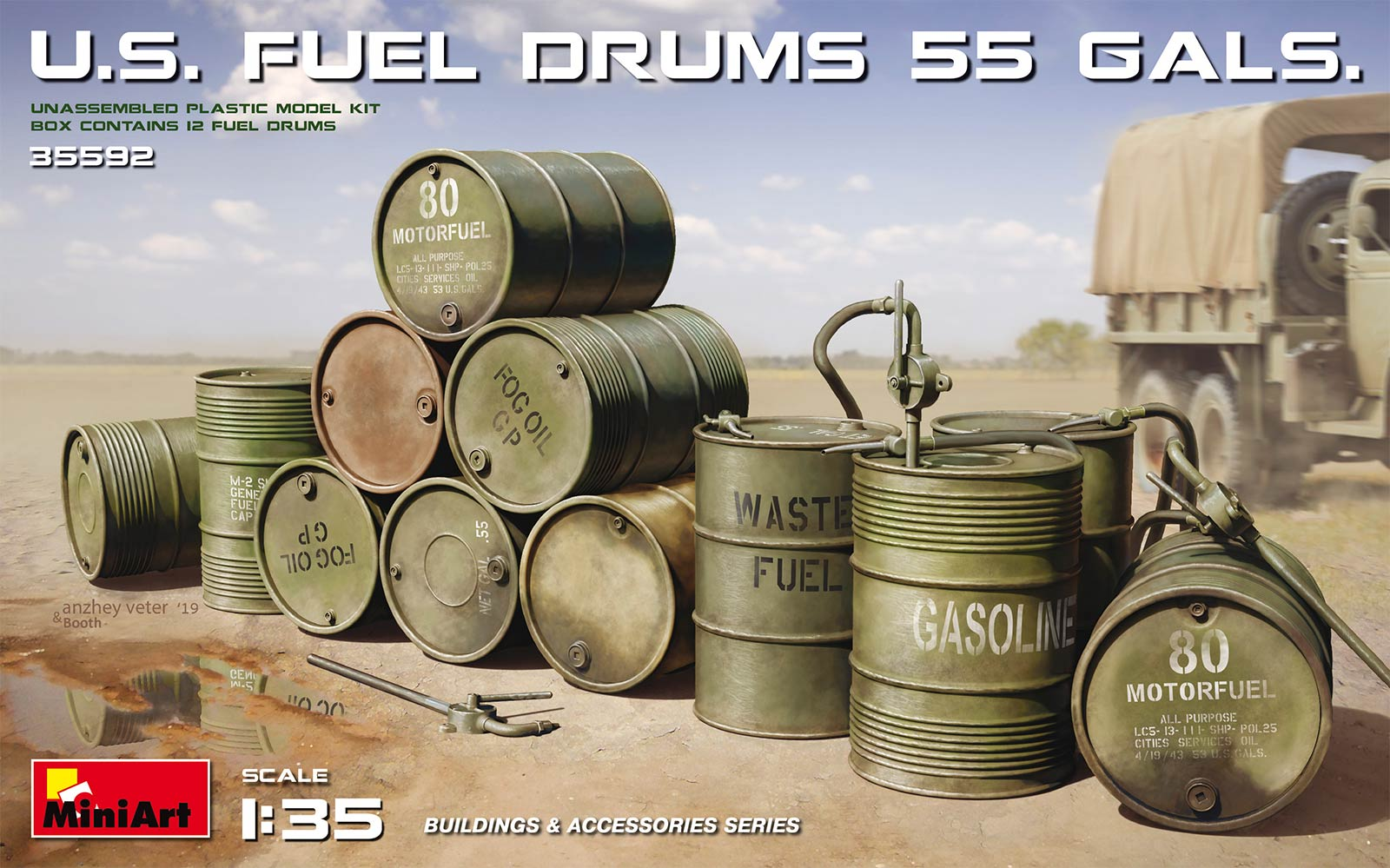 MiniArt U.S. Fuel Drums (55 Gals.)