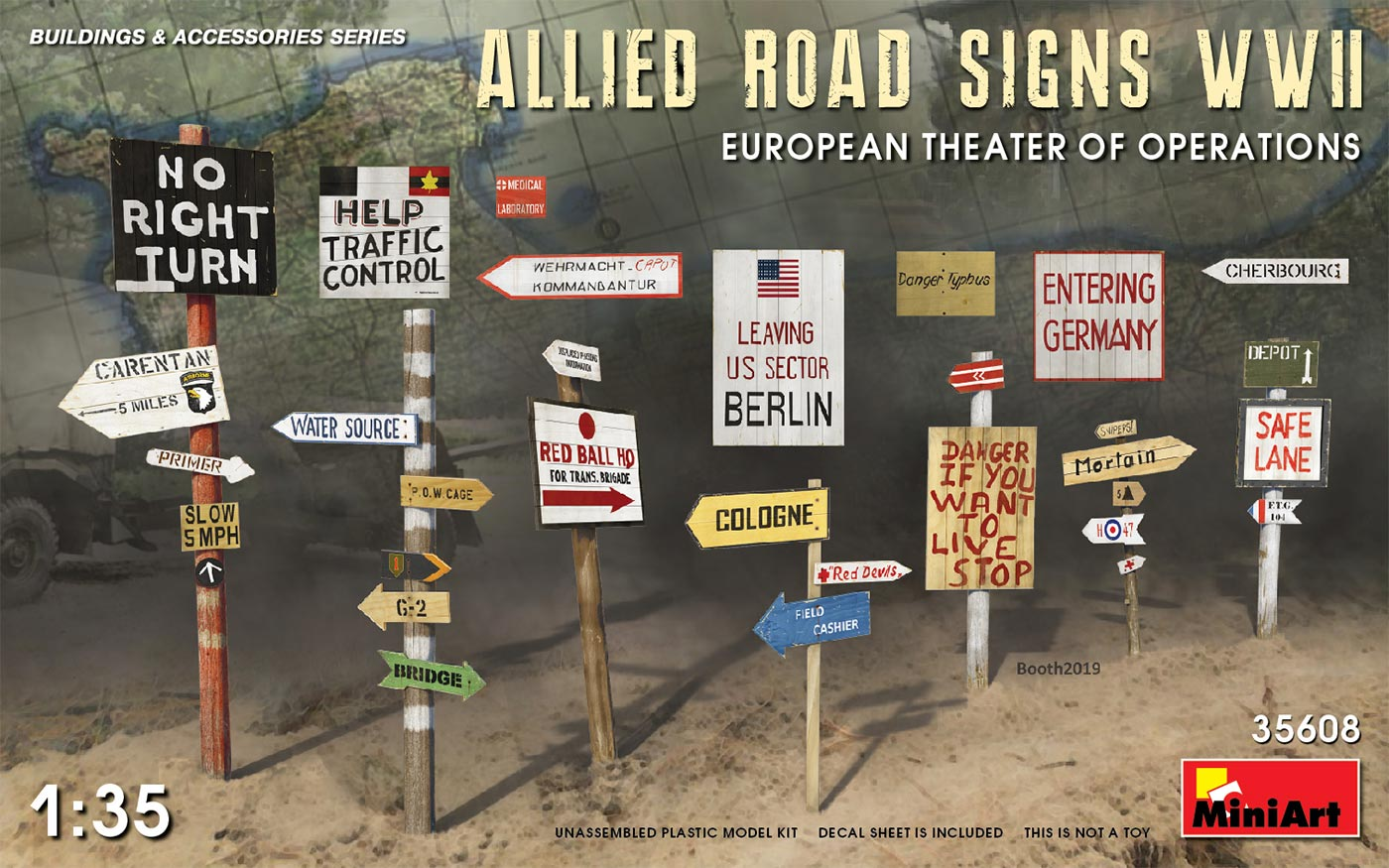 MiniArt Allied Road Signs WWII. European Theatre of Operations