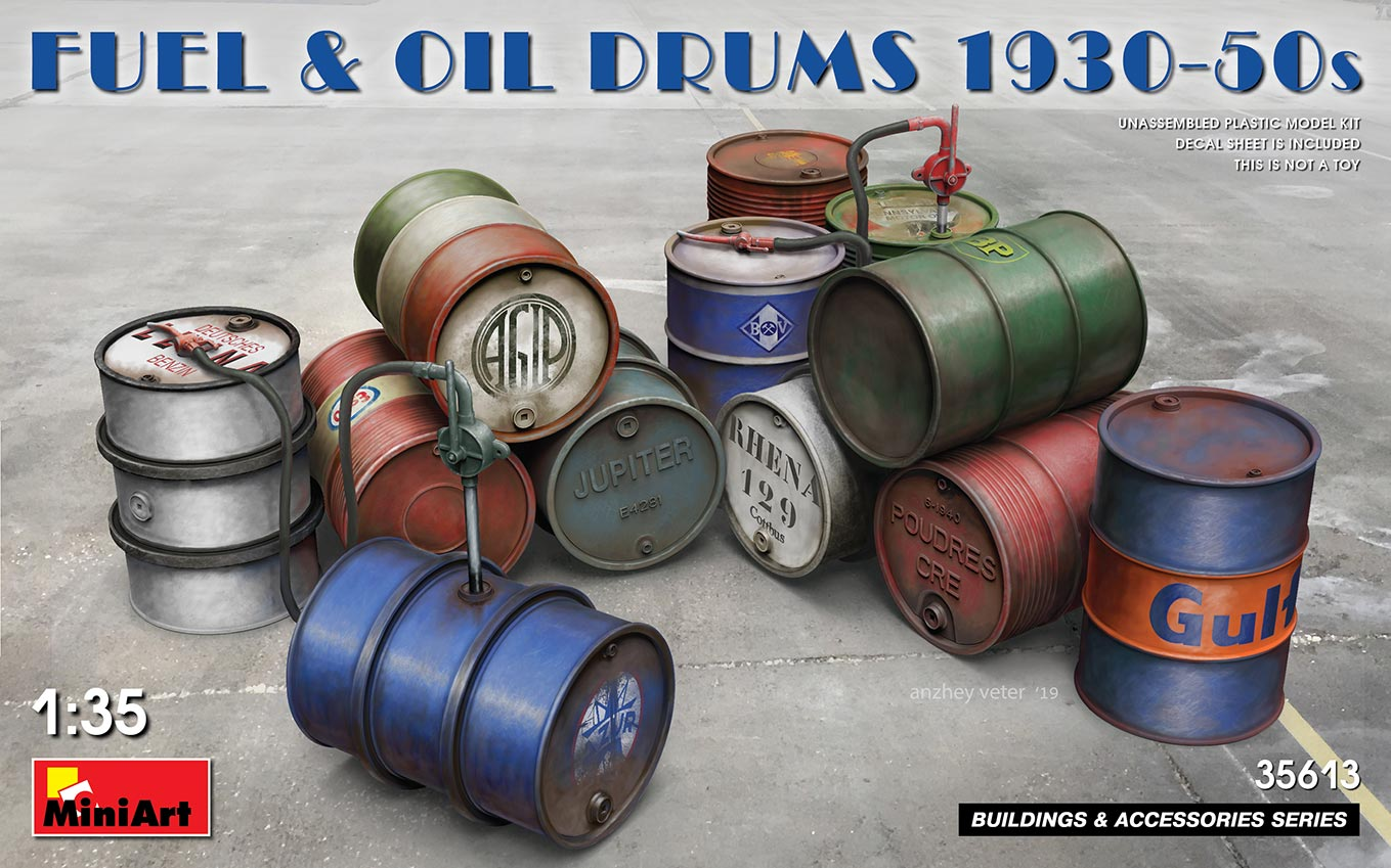 MiniArt Fuel & Oil Drums 1930-50s