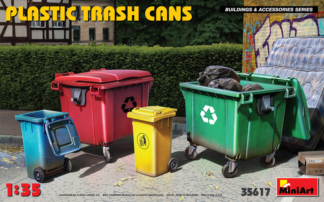 Miniart 1/35 Plastic Trash Cans