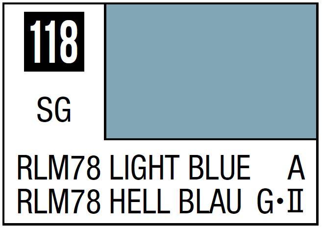Mr Hobby Mr. Color 118 - RLM78 Light Blue (Semi-Gloss/Aircraft) - 10ml