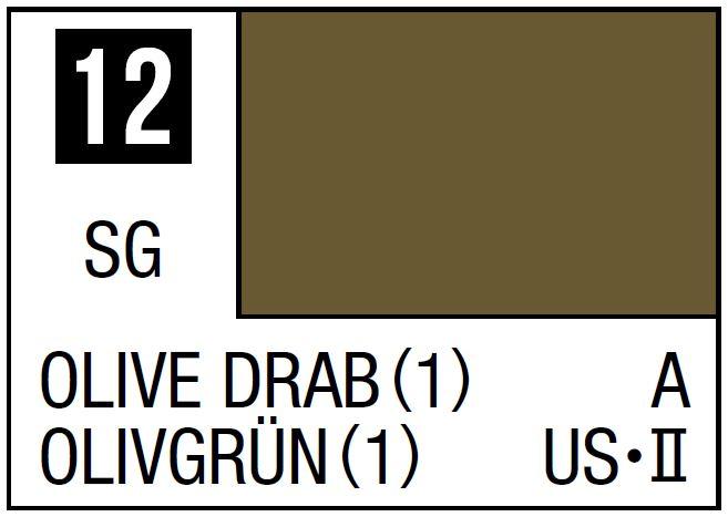 Mr Hobby Mr. Color 12 - Olive Drab (1) (Semi-Gloss/Aircraft) - 10ml
