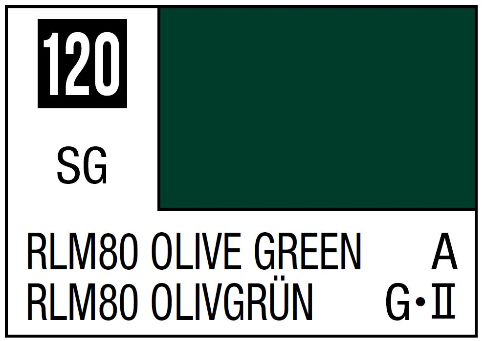 Mr Hobby Mr. Color 120 - RLM80 Olive Green (Semi-Gloss/Aircraft) - 10ml