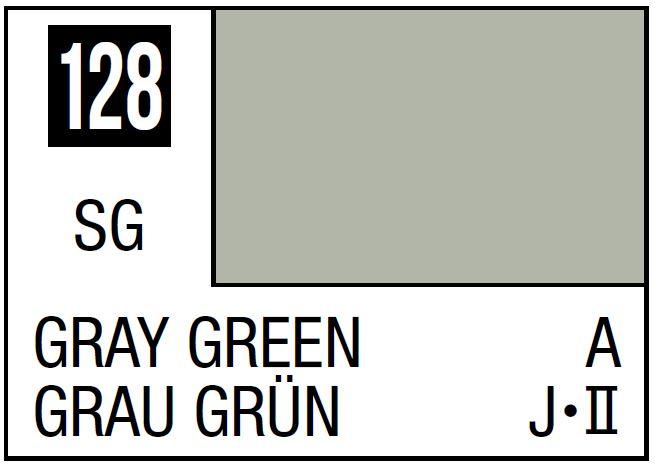 Mr Hobby Mr. Color 128 - Gray Green (Semi-Gloss/Aircraft) - 10ml
