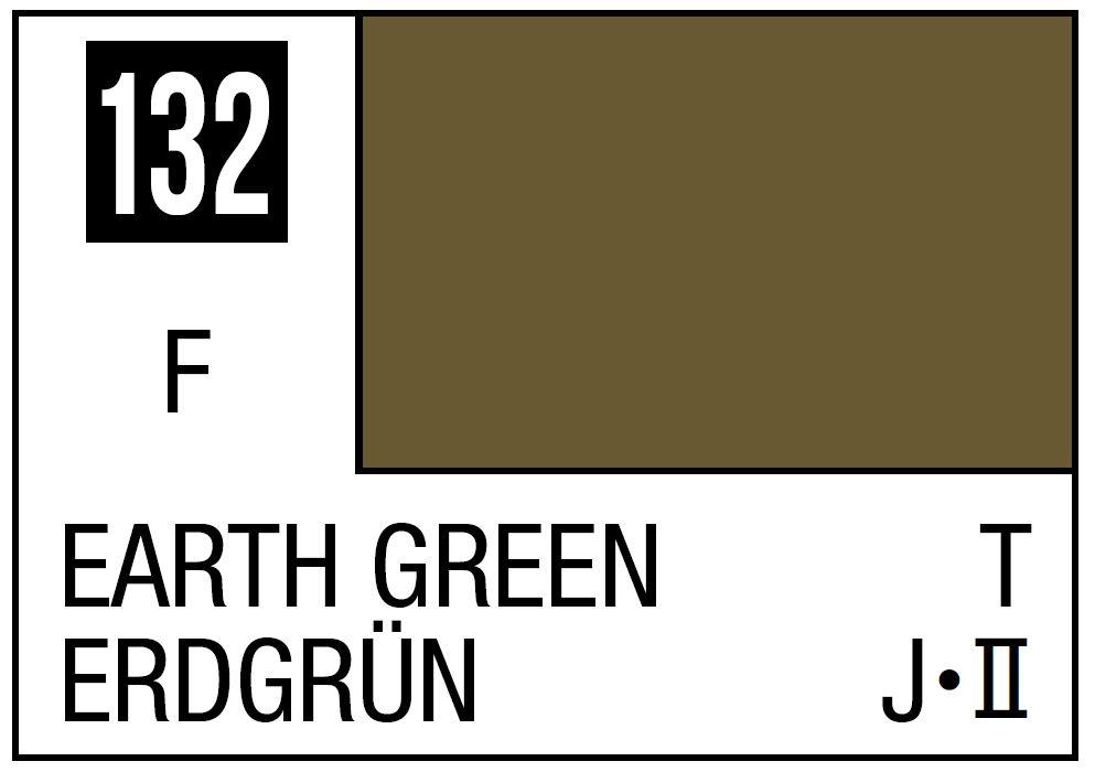Mr Hobby Mr. Color 132 - Earth Green (Flat/Tank) - 10ml