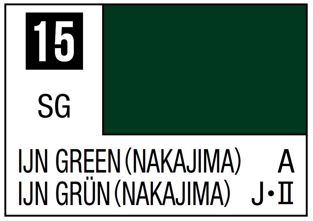 Mr Hobby Mr. Color 15 - IJN Green (Nakajima) - 10ml (Semi-Gloss/Aircraft) - 10ml