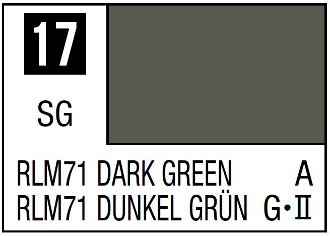 Mr Hobby Mr. Color 17 - RLM71 Dark Green (Semi-Gloss/Aircraft) - 10ml