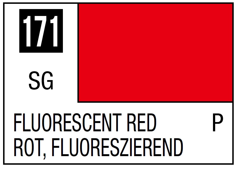 Mr Hobby Mr. Color 171 - Fluorescent Red (Gloss/Primary) - 10ml