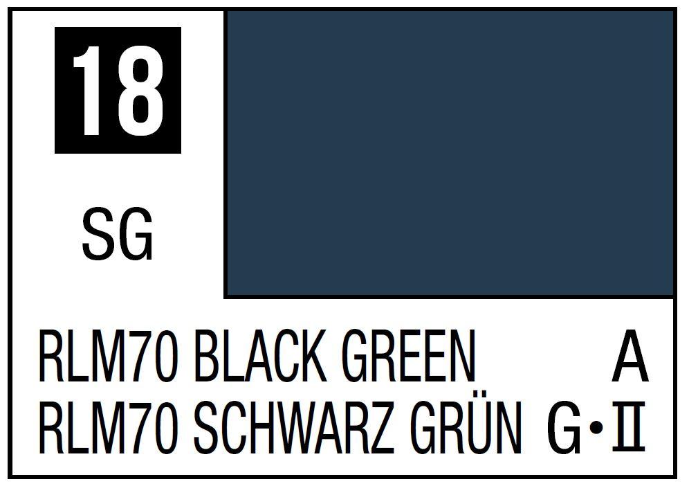 Mr Hobby Mr. Color 18 - RLM70 Black Green (Semi-Gloss/Aircraft) - 10ml