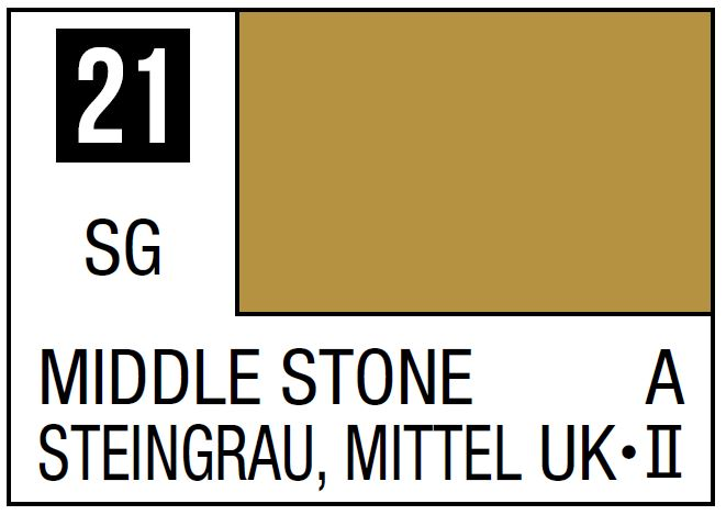Mr Hobby Mr. Color 21 Middle Stone (Semi-Gloss/Aircraft) - 10ml