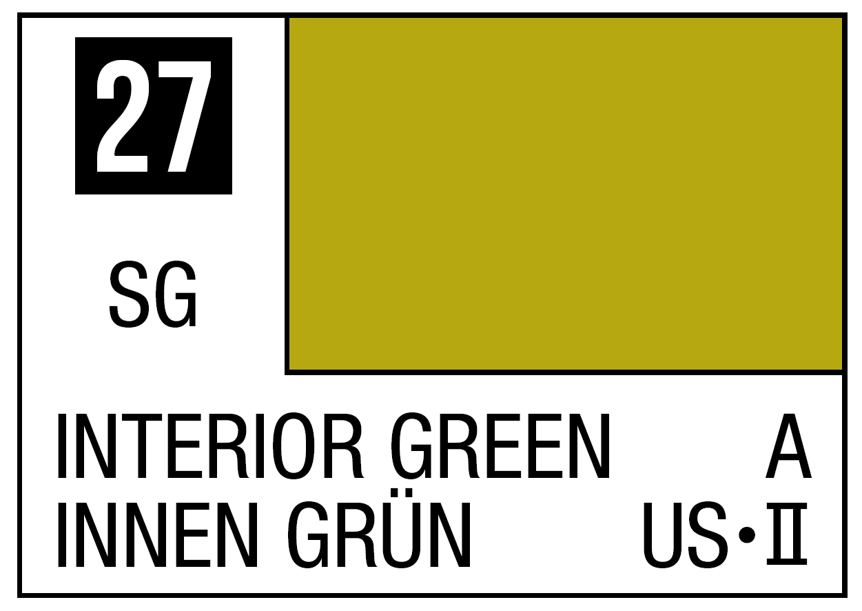 Mr Hobby Mr. Color 27 Interior Green (Semi-Gloss) - 10ml