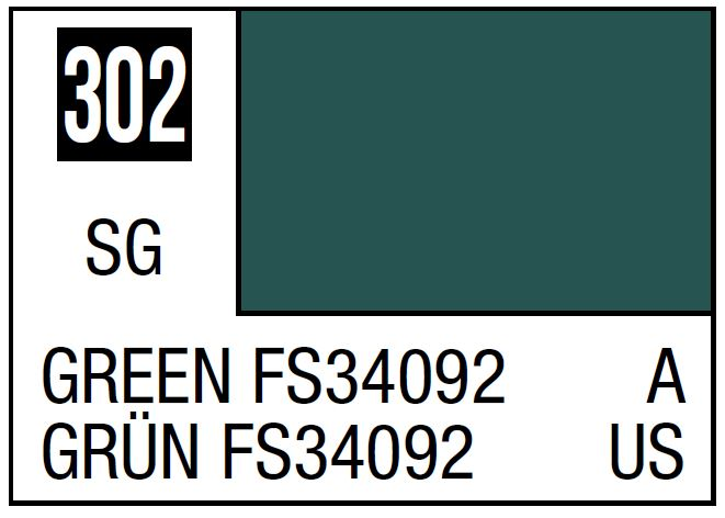 Mr Hobby Mr. Color 302 Green FS34092 (Semi-Gloss/Aircraft) - 10ml